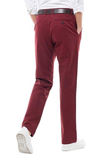 Harrms Hombre Elegir Colores Pantalones Granate Para Recto 16 Corte Rectas Perneras Liso De Hombre Estilo Casual Con rFwg8r