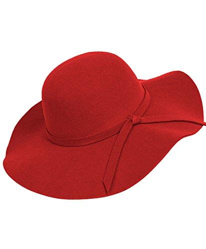 Bowknot Wide Brim Floppy Hat - Red Hat Floppy
