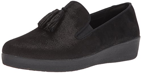Image of FitFlop Women's Tassel Superskate Shimmer Loafer, Black, 11 M US