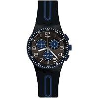 Swatch Originals Kaicco Black Dial Silicone Strap Men's Watch SUSB406
