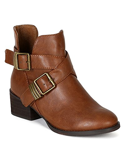 AD94 Out Designer Ankle Breckelles Tan Toe Cut Women Leatherette Bootie Round 4qdxH1wx