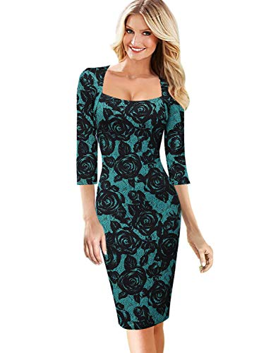 VFSHOW Womens Teal Green and Black Floral Print Square Neck Work Business Cocktail Bodycon Dress 2578 GRN XS