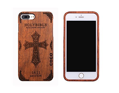 CoCo@ iPhone 7 plus case, Iphone 7 plus Wooden Case Wood Cover 100% Unique Genuine Handmade Natural Wood Wooden Hard Bamboo Shockproof Case Like as Artwork for New Iphone 7plus (2016) (cross rosewood)