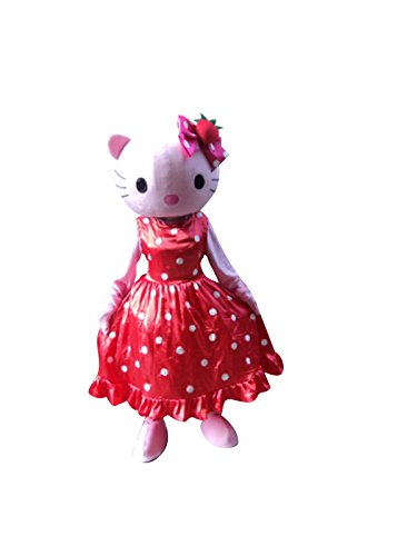 Hello Kitty Cat Adult Mascot Costume Cosplay Fancy Dress Outfit