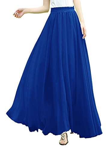 6fb9c011b2 v28 V28Women Full/Ankle Length Elastic Pleated Retro Maxi Chiffon Long Skirt  (M, Blue)