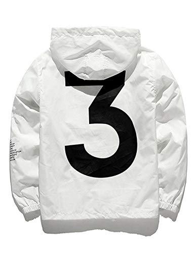 (Baguet Men Rainwear Lightweight Sportswear with Expansive Hood Full-Zip With Pocket, White, Medium)