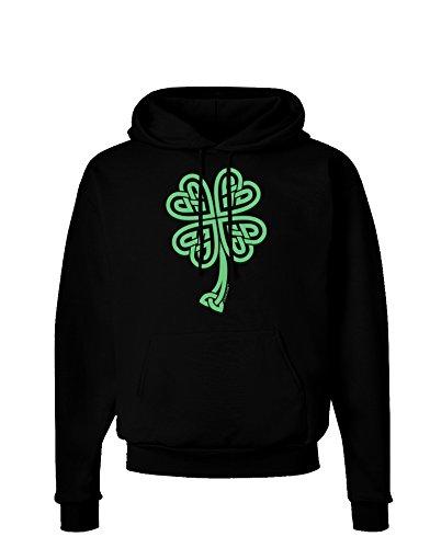 tic Knot 4 Leaf Clover Dark Hoodie Sweatshirt - Black - Large (Clover Hoodie)