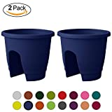 ALMI Balcony Deck Rail Planter Box with Drainage Trays, Bloomers Railing Round Pot, Drainage Holes, Weatherproof Resin Planter, 12 Inch, Indoor & Outdoor, 2 Pack, Blue