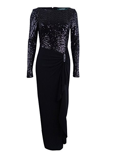 Lauren Ralph Lauren Women's Sequined Jersey Gown (2, Black Shine)