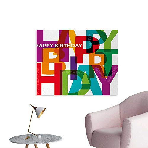 Cards Photographic Puzzle - Tudouhoho Birthday Poster Print Vibrant Colorful Letters Scattered Broken Text Puzzle Like Display Graphic Print Photographic Wallpaper Multicolor W28 xL20