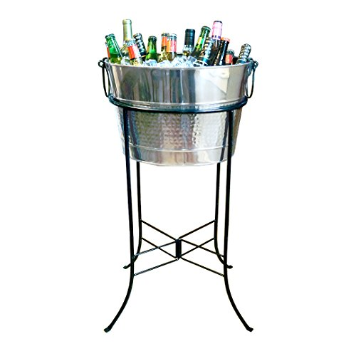Stainless Steel Party Tub - BREKX Hammered Stainless Steel Silver Beverage Tub with Black Iron Stand - Large Party Accessory