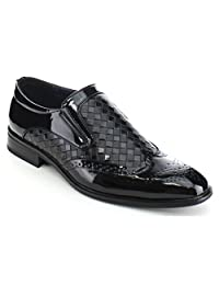 UV SIGNATURE UV005 Men's Almond Toe Wing Tip Perforated Detailing Slip On Loafer