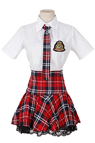 Nouqi® Women Dress School Girls Uniform Red Plaid Pleated Black Lace Skirt