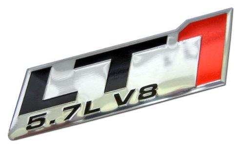 (LT1 5.7L V8 Red Engine Emblem Badge Nameplate Highly Polished Aluminum Chrome Silver for GM General Motors Performance Chevy Chevrolet Corvette C4 ZR1 Buick Camaro Roadmaster Pontiac Trans AM Chevy)