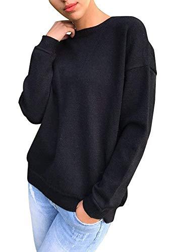 Occhielli Rotondo Sport Modern Top Manica Sweatshirts Casual Metallici Felpa Semplice con Eleganti Glamorous Accogliente Moda Pullover Top Collo Stile Donna Lacci Autunno Schwarz Lunga Monocromo Shirt 0qwaHH1