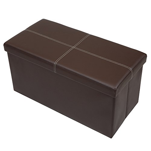 """Otto & Ben 30"""" Storage Ottoman with Memory Foam Seat, Folding Foot Rest Stools Table Ottomans Bench with Faux Leather, Brown"""