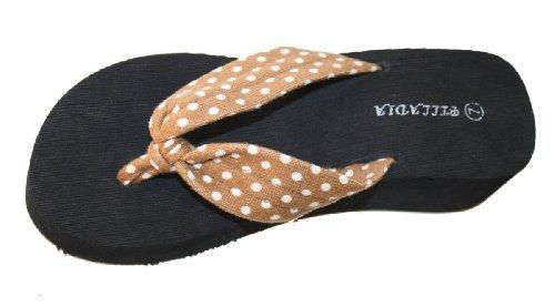 Femmes Occasionnels Beach Plate-forme Wedge Thong Sandale Avec Bretelles Supérieures À Pois Brun