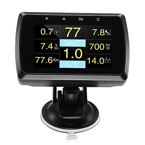 WonVon HUD Head-up Display Gauge with On-Board Computer Vehicle Holder Fuel Consumption Water temperature Meter Speedometer Digital Display For OBD2 EUOBD System Model Cars