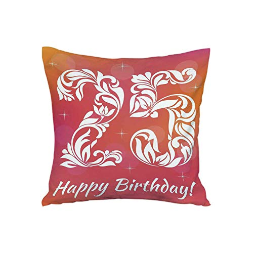 (ALUONI 25th Birthday Decorations Soft Car Waist Throw Cushion,Font with Leaves Flowers Hearts Number Twenty Five Stars for Car,15