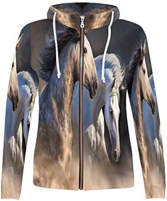 INTERESTPRINT Women`s Zipper Hoodies Sweatshirt Couple of Horse / INTERESTPRINT Women`s Zipper Hoodies Sweatshirt Couple of Horse