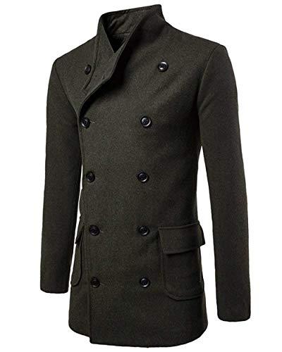 Apparel Outerwear Sleeve Trench Vintage Winter Double Coat Breasted Fit Warm Slim Coat Armeegrün Jackets Men's Lapel Long Huixin Winter Coat Jacket zHc8wTqS