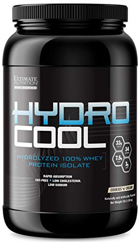 Ultimate Nutrition HydroCool Hydrolyzed Whey Protein Isolate Powder with No Bloating - Fat and Gluten Free, Rapid Absorption, 33 Grams of Protein, Cookies & Cream, 3 Pounds