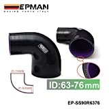 """2.5""""-3"""" 63mm-76mm 3-Ply Silicone 90 Degree Elbow Reducer Hose BLACK EP-SS90R6376"""