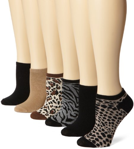 K. Bell Women's 6 Pack Novelty No Show Low Cut Socks, Animal Print (Brown/Black/Gray), Shoe Size: 4-10
