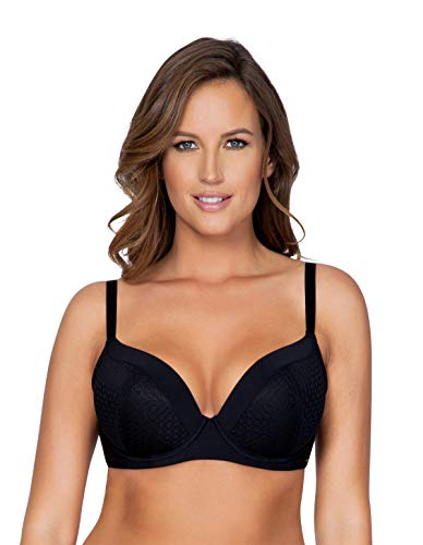 PARFAIT Women's Plunge Padded Bra 40DDD Black, Wendy P5411 -