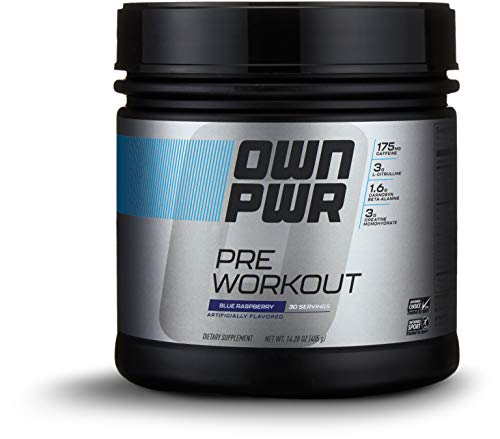 OWN PWR Pre Workout Powder, Blue Raspberry, 30 Servings, with 3g Creatine, 1.6g Beta Alanine (as CarnoSyn), 175mg Caffeine & more