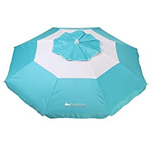 AMMSUN 2017 7 ft Alu. Pole Beach Umbrella Fantastic Design with air-vent w/ flaps w/ zinc tilt Edge stitches Teal/white
