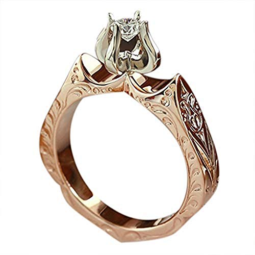 Fashionhe Diamond Wedding Ring Jewelry Engagement Lotus Flower Ring Luxury Lady's Accessories Ring Gift (Multicolor.9)