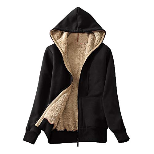Ulanda Women's Casual Winter Warm Sherpa Lined Zip Up Hoodie Hooded Sweatshirt Jacket Coat -