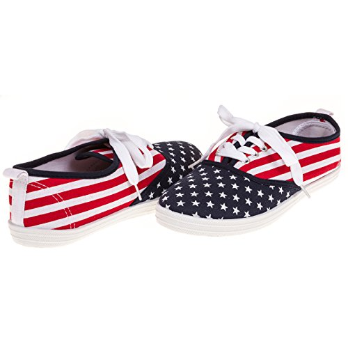 Casual Stripe Sneakers (Womens Fashion DTEQ-USA Stars and Stripes Canvas Sneaker, Size 8)