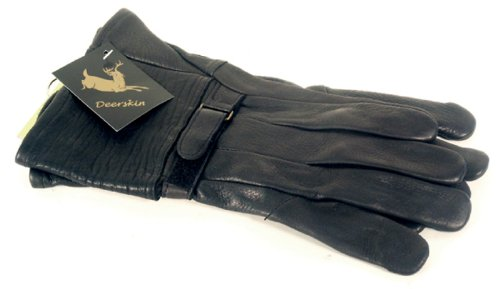 Napa Classic Motorcycle Style Deerskin Leather Gloves (Black, X-Large)