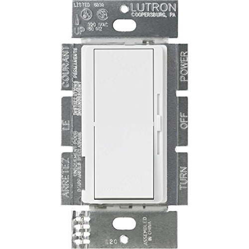 Dimmer 1 Wide (Lutron DVSTV-WH Diva 8 Amp 3-way/Single-Pole 0-10V Dimmer, no neutral required, White)