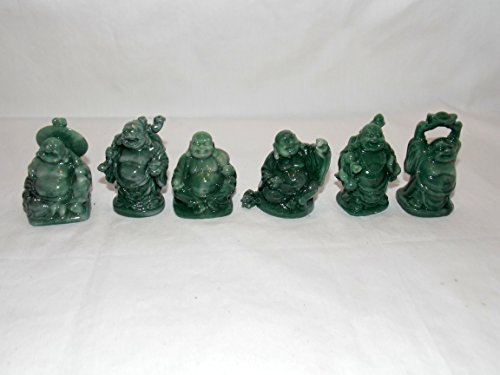 (NEW 6pc JADE COLOR LAUGHING BUDDAH BUDDHA FIGURES FENG SHUI HAPPINESS WEALTH 2