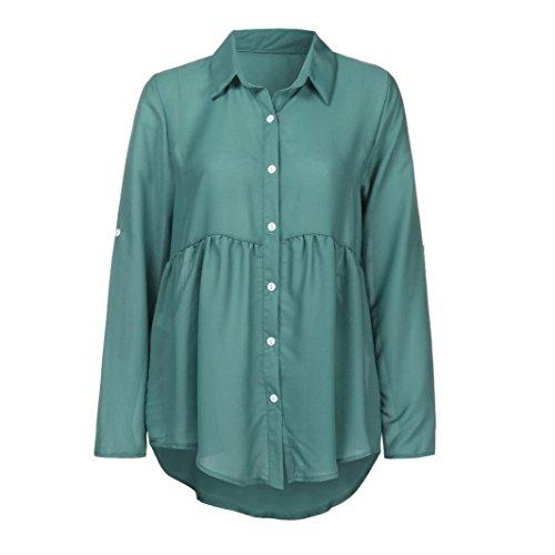 Manches en De Clair Chemisier De Top Grande Haut Taille Soie T Chemises Femme Bleu V en Col Chic Shirt Shirt Longues Longues Mousseline T wX0w4txqC