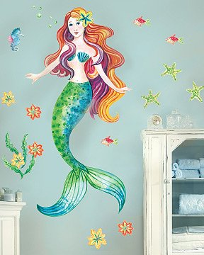 Amazon.com: Mermaid Peel And Stick Vinyl Mural Wall Sticker Large: Home U0026  Kitchen