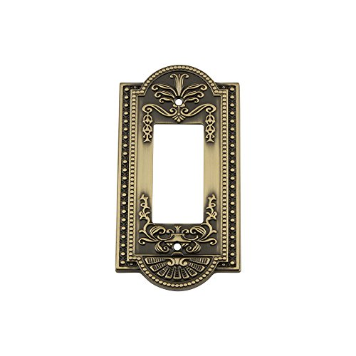 - Nostalgic Warehouse 719713 Meadows Switch Plate with Single Rocker, Antique Brass