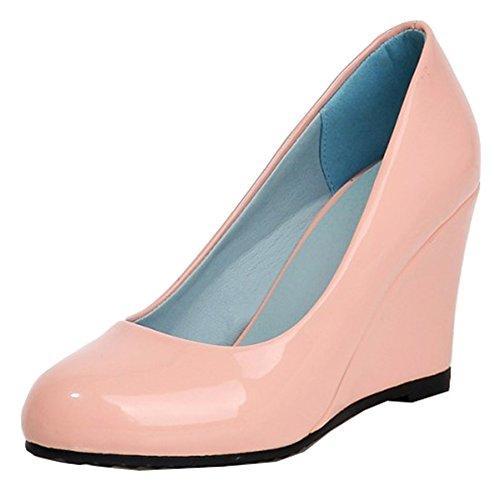 Pumps Elegant Womens Heel Cut On Wedge SHOWHOW Slip Low Pink UpxZWw4qS