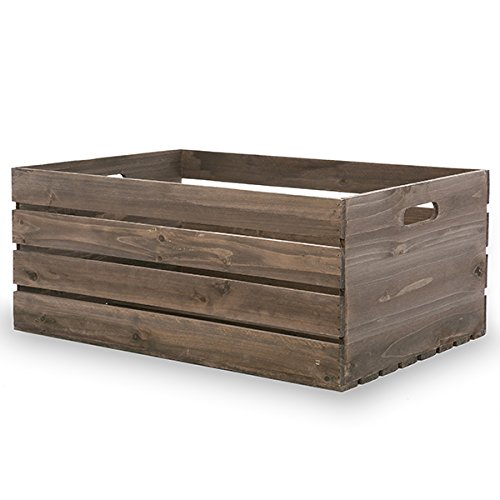 The Lucky Clover Trading Antique Wood Crate Basket with Handles, 17.25