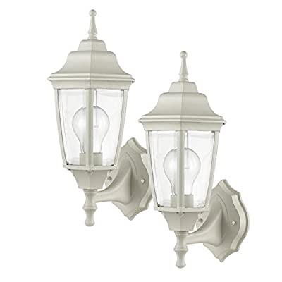 Globe Electric Oxford 1-Light Outdoor Upward Wall Sconce, 2 Pack, Clear Glass Shade, Matte White Finish, 44068