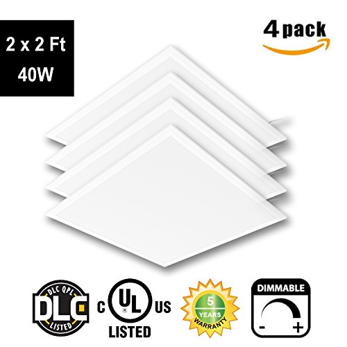 LED 2 x 2 Ft Recessed LED Panel Light Ceiling White Frame 40W 4000K Dimmable - 4Pack by New light (Image #1)