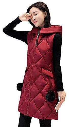 外交官グリップ中庭AIJUAN レディース ベスト ダウンコート 厚手 冬 ロング丈 袖なしの胴着 カジュアル 綿入れ 通勤 スリム フード付き 大きいサイズ 可愛い 防寒 防風 無地 アウター 軽量 ファッション