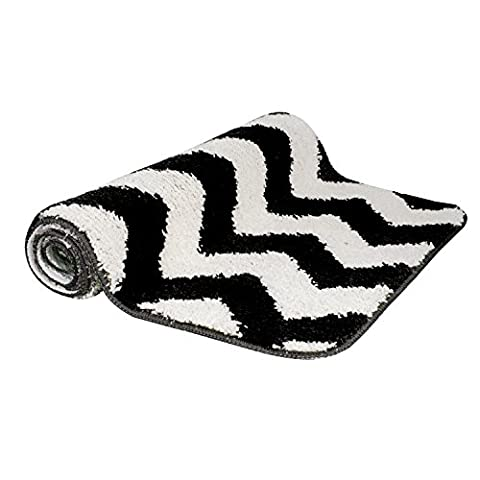 Non Slip Absorbent Bath Mat Microfiber Bathroom Rugs, Vdomus - 20 by 32 inches – Black Wave (Men Bathroom Rug Set)
