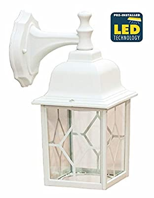 CORAMDEO Outdoor LED Square Wall Sconce Light for Porch, Patio, Deck, Wet Location, Built in LED Gives 100W of Light from 11W of Power, Durable Cast Aluminum with White Finish & Decorative Glass