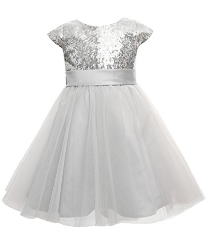 0d1c56ef8f2 princhar Sequin Tulle Short Girl Dress Little Girls Wedding Party Toddler  Dresses US 2TSilver - Buy Online in Oman.