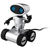 StealStreet Light Up Blue Eyed Robot Design Four Port USB 2.0 Hub, 3.25