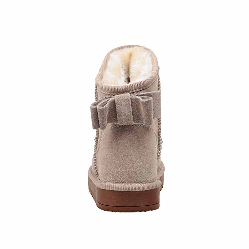Low Round AmoonyFashion top Frosted Boots Heels Toe Low Solid apricot Women's Snow Closed nxwqf1x0